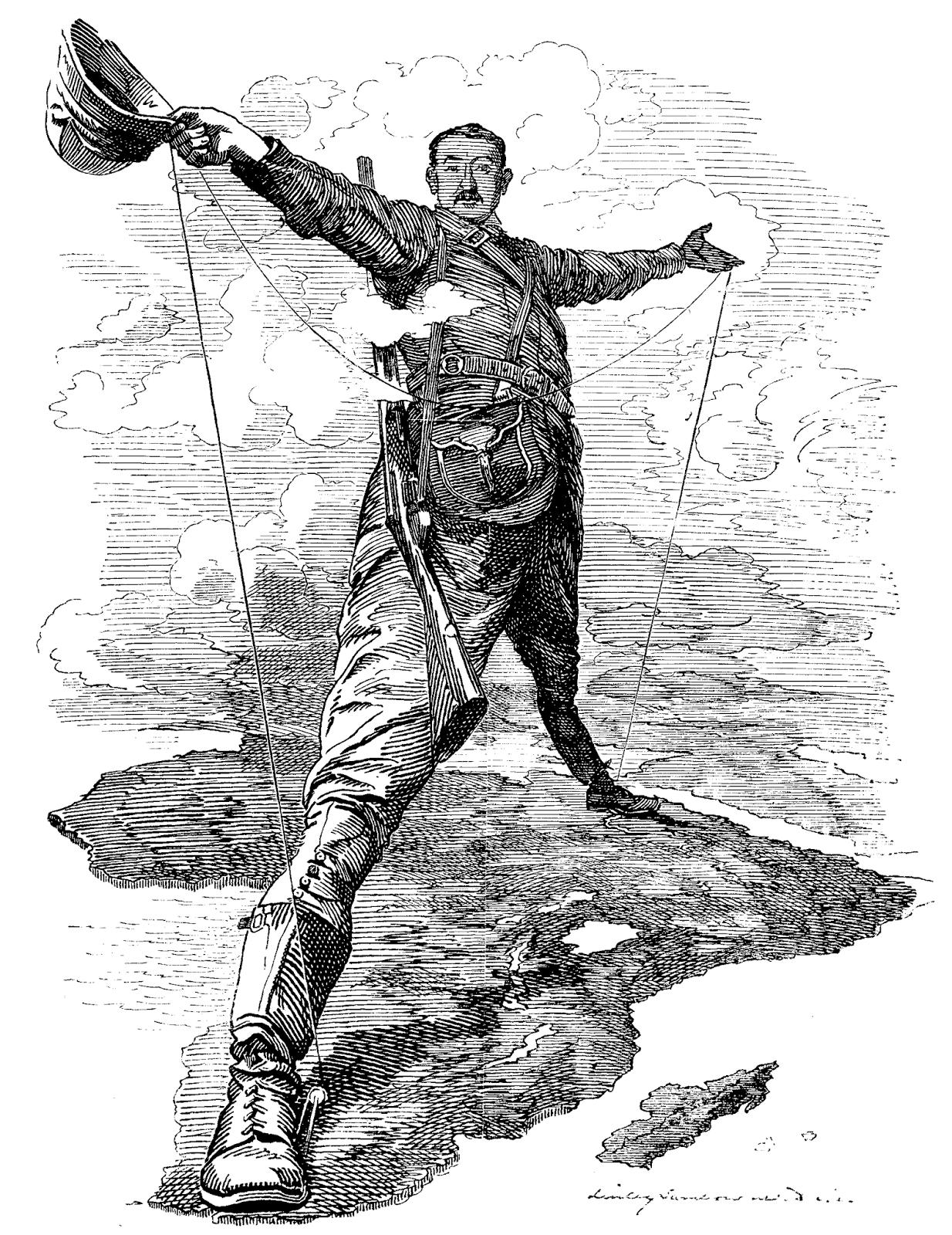 Karikatur von Edward Linley Sambourne zum Kap-Kairo-Plan von Cecil Rhodes im Punch, 1892